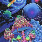 Batik UV Backdrop Cosmic Shrooms Wandbehang 2m x 1,2m Hippie Goa Psy Tuch Kunst