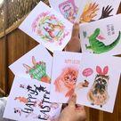 Easter cards bundle - funny Spring illustration handmade watercolor animals Easter greeting cards