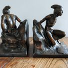Art Deco 1930's Bookends North American Indians Mohawk | Etsy