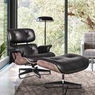 Furgle Eames Replica Modern Lounge Recliner Chair and Ottoman Veneer Frame Natural Leather High Grade Chair--Brown Ashwood