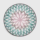 Floral Dynasty Round Rug Collection - Blue / 100cm x 100cm