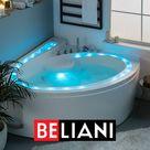 Whirlpool Badewanne weiß Eckmodell mit LED 165 x 148 cm PELICAN