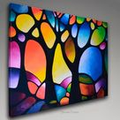 Abstract geometric giclée print on canvas from my original abstract landscape painting, abstract trees