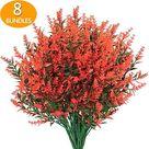 GREENRAIN 8 Bundles Artificial Lavender Flowers - 5#orange Red