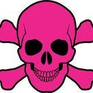 5inX5in Pink Skull and Cross Bones Bumper Sticker Vinyl Truck Window Decal
