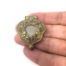 Tibetan Pendant Ghau Gau Amulet Box Handcrafted W/Gem Inlays Coral Turquoise