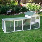 Boomer & George White Wash Rabbit Hutch with Extended Run - Rabbit Cages & Hutches at Hayneedle