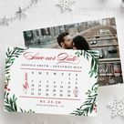 Calendar save the date christmas card, holiday wishes, save our date, christmas card, invitation, wedding, sign, printable, printed card, HC