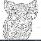 Volwassen kleurplaat, boek een pig.Zen stijl stockvector (rechtenvrij) 716922925