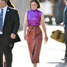 Emilia Clarke dazzles in purple sequinned top at Jimmy Kimmel Live