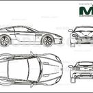 Aston Martin V8 Vantage 2007   2D drawing blueprints   25597   Model COPY   English