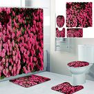 Beautiful Flowers Printed Bathroom Home Decoration Bathroom Shower Curtain Lining Waterproof Shower Curtain with 12 Hooks floor mats and four piece toilet mats.