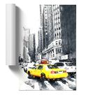 Grafikdruck A Yellow Taxi Cab in New York Abstract Art