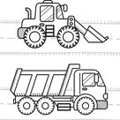 Cars and vehicles coloring book for kids. Dump Truck, Excavator Dozer...