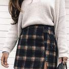 MakeMeChic Women's Plaid Skirt Zipper Back High Waist A-Line Mini Skirt
