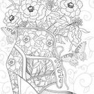 Shoe - Printable Adult Coloring Page from Favoreads (Coloring book pages for adults and kids, Coloring sheets, Colouring designs)
