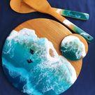 Set di sottobicchieri agata blu di 4 e tavola di formaggio in   Etsy