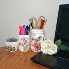 Vintage Red Pink Rose Mason Jar Desk Set, Decoupage Jar, Office Desk Decor, Office Desk Organizer, Office Desk Accessories, Office Supplies