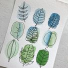 Watercolor Floral Art, Watercolor and Pen, Plant Mom Art, 5x7
