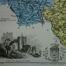 INDRE-ET-LOIRE 1876 original old map of department France Hand-colored antique print poster Tours Saint Avertin vintage maps vielle carte