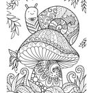 Snail on a Mushroom Coloring Page • FREE Printable eBook