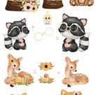 Forest Animal watercolor digital clipart, Woodland Creatures, Woodland Animals Clipart, Watercolor Digital Clipart, Woodland Nursery Clipart
