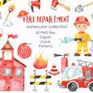 Watercolor fire truck, fire station, department, fireman, firefighter, fire equipment. Clipart, premade cards, seamless patterns. PNG, PSD