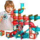 Amazon.com: GAMZOO Magnet Marble Run-Speedy Magnetic Tiles Race Track! Building Blocks Toys STEM Learning Kit for Boys Girls Age 4 5 6 7 8+ Years Old (110 pcs): Toys & Games