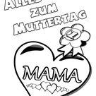 Muttertag Ausmalbild & Malvorlage ❦ Gruß mit Herz | BabyDuda » Malbuch