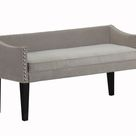Upholstered Wooden Whitney Long Bench With Arms And Nailheads In Bomber Jacket Pinto - Gray