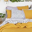 Gold & Lilac Cotton Chambray Quilted European Pillowcase  - Temple & Webster