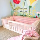 Hardwood Montessori Floor Bed With 4 Railings Made in Ohio USA