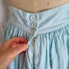 Vintage pastel mint blue prairie cottagecore cotton 50s 60s boho midi skirt S