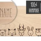 Wooden board animals forest (with name)