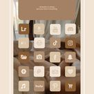 130 Brown aesthetic home screen app icons