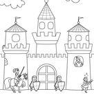 Ausmalbild Ritter und Drachen: Ritterburg zum Ausmalen kostenlos ausdrucken
