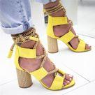 Women's High Heel Sandals Pointed Fish Mouth Hemp Lace Up Sandal Shoes C-EU 41
