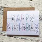 Happy Birthday Card  Calligraphy Birthday Card  Colorful   Etsy