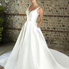 Austin W351   Simple V Neck Mikado Ballgown Wedding Dress   True Bride