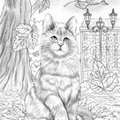 Autumn Kitty - Printable Adult Coloring Page from Favoreads (Coloring book pages for adults and kids, Coloring sheets, Colouring designs)