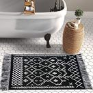 Upgraded Boho Bathroom Rug 2'x3', 100 Woven Boho Rug for Bedroom Black and White Bohemian Rug Bath Mat, Kitchen Rug Washable Cotton Small Throw Rug, Tassel Rug for Kitchen/Laundry/Doorway/Porch