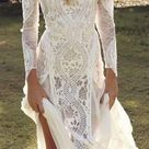Long Sleeve Lace Wedding Dresses See Through Backless Beach Wedding Dresses AWD1… – 2019 - Lace Diy