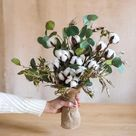 Cotton Flower Bouquet with Greenery Leaf 21