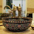 Europe Vintage Style Handmade Art Porcelain Deep Blue Countertop Basin Sink Handmade Ceramic Bathroom Vessel Sinks Vanities _   - AliExpress Mobile