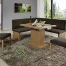 Eckbankgruppe, Buche natur Nachbildung bzw. Buche naturfarbig massiv; Eckbank, 2 Stühle und Säulentisch, Bezug: beige-grau, variabel aufbaubar
