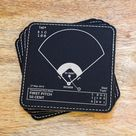 Champion First Pitch Bloopers ERRANT PITCHES Plays Leatherette Coasters Set of 4
