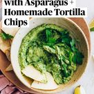 Skinny Guacamole with Asparagus + Homemade Tortilla Chips