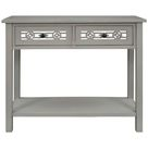 Red Barrel Studio® Large Storage Space Console Table w/ Hollow-Out Decoration in Gray, Size 30.0 H x 35.4 W x 13.8 D in | Wayfair