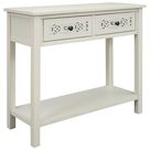 Red Barrel Studio® Classic Console Table w/ Hollow-out Decoration Two Top Drawers in White, Size 30.0 H x 35.4 W x 13.8 D in | Wayfair