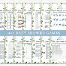Greenery Pumpkin Fall Baby Shower Games, Blue Pumpkin Baby Shower Game Bundle, It's a Boy Pumpkin, F